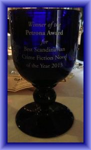 The Petrona Award trophy (image courtesy of Emma  Buckley and Euro Crime)